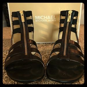 Black Leather Michael Kors sandals size 9